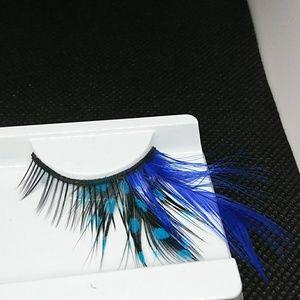 Black Eyelashes Blue Turquoise Feather Eyelashes